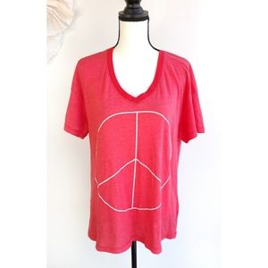 Wildfox Red White Peace Sign Short Sleeve Shirt
